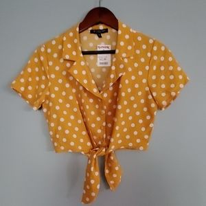 NEW One Clothing Yellow Polka dot crop top SZ M S
